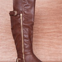 Refresh Gilded Dream Buckled Faux Leather Knee High Gold Zipper Boots Mercury-01 - Brown