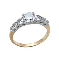 Kiss a Rose - Two Toned Ring With a Stunning .84 CT. Equivalent Center Stone