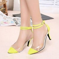 Zehui Women Pointy Toe Transparent Pump Strap Stiletto Strappy Sandals High Heel Shoes Yellow US8