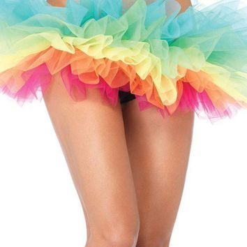Rainbow Organza Tutu In Multicolor