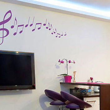 Music Notes Clef Living Room Inspirational Music Decal Vinyl Sticker tr789