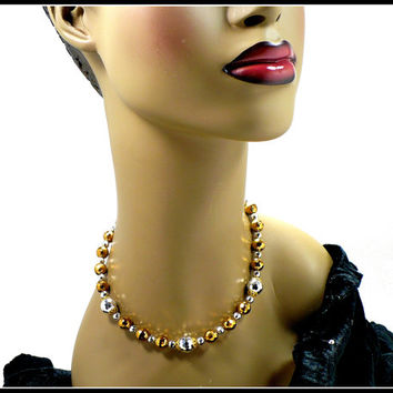 Gold & Silver Crystal Choker Necklace, 16 Inch Long Metallic Bridesmaid Rockabilly New Years Eve, LAGUNA New Old Stock, Hostess Gift For Her