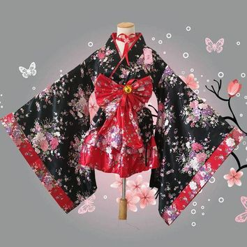 DCCKH6B japanese kimono ladies hatsune miku outfit women bathrobe children kids lolita kimono dress anime cosplay costume halloween