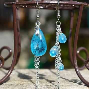 Blue Teardrop Butterfly Resin Earrings, Dangle Silver Chain Asymmetrical Earrings, Transparent Resin.