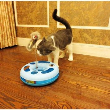DCCKIX3 Creative Funny Cat Toys Mice Crazy Training Amusement Disk Multifunctional Disk Play Rotating Plate Pet Products = 1929962948