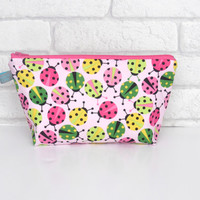 Pink Ladybird themed Cosmetic Wash Bag / Make Up Bag