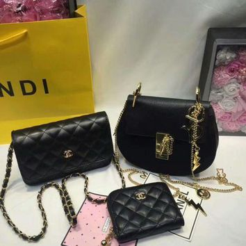 LMFYN6 Year-End Promotion 3 Pcs Of Bags Combination (Chloe Bag ,Chanel Mid Bag ,Chanel Wallet)