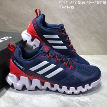 AUGUAU A477 Adidas Terrex High Frequency Breathable TPU Vamp Running Shoes Dark Blue Red