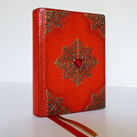 Writing Journal, Red Diary, Magic Spells, Birthday Gift Idea, Leather Art, Wizard Book, Gothic, Witch Notebook, Travel Journal, Leather Gift