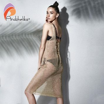 Andzhelika Bikini Cover-Ups Swimwear 2018 Women Metal Knitted Beach Swimsuit Cover Up Hollow Sexy Bathing suit Cover up AK1920
