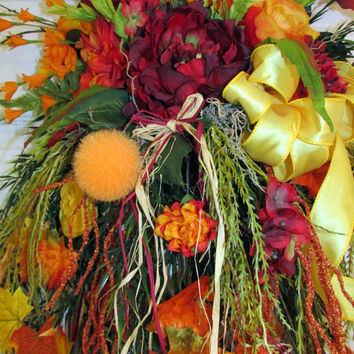 Fall wreath, fall wreath swag, autumn wreath,fall door wreaths ,grapevine wreath,thanksgiving decor, fall decor, gifts, peony, roses