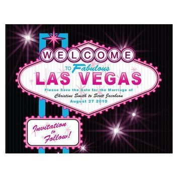 Las Vegas Save The Date Card Bright Green (Pack of 1)