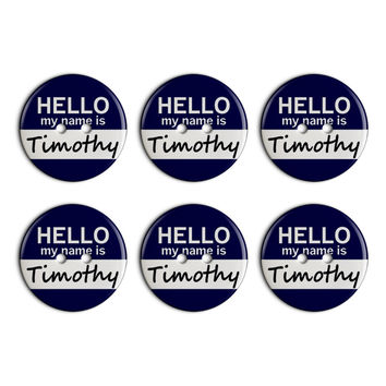 Timothy Hello My Name Is Plastic Resin Button Set of 6