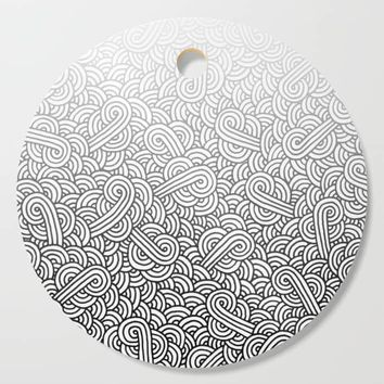 Gradient black and white swirls doodles Cutting Board by savousepate