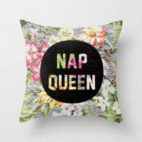 Nap Queen Throw Pillow by Text Guy