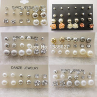 12 Pair pieces New Fashion Classic Style Bead Crystal Stud Earrings Set For Women Fine Pearl Jewelry