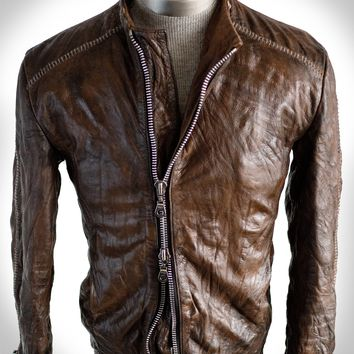 Men's Scar Stitch Heavy Lambskin Washed, Treated, and Waxed Jacket