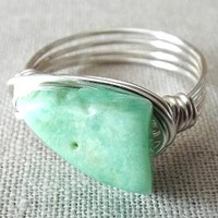 Chrysoprase Ring - Mint Green Ring - Green Stone Ring - Raw Stone Ring - Unique Ring - Wire Wrapped Jewelry Handmade - Seafoam Green Ring