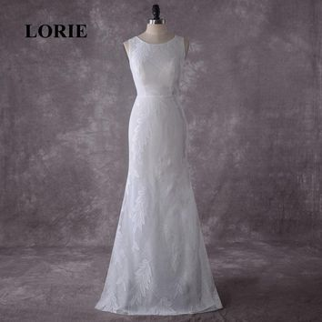 LORIE Mermaid Wedding Dress 2019 Real Photo O-Neck Lace White Ivory Boho Beach Bride Dress Cheap Wedding Gown Free Shipping