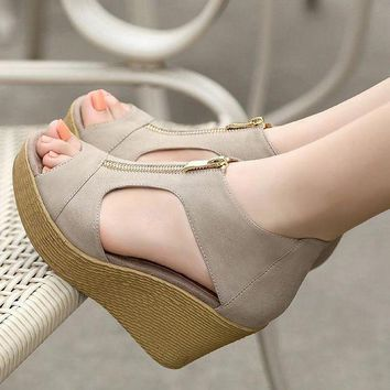 DCK7YE Lotus Jolly Women Wedge Sandals Summer Casual Shoes Woman Platform Wedges Vintage High