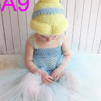 free shipping 20pcs/lot Cinderella Crochet Hat, baby Princess Hat, Princess Crochet Hat, girls Crochet Hat NB-6years