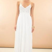 Something Special Crochet Maxi Dress - White