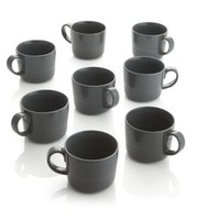 Hue Dark Grey Mugs (Set of 8)