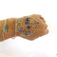 Silver hand bracelet with blue gemstones, wire wrapped hand cuff, bohemian tribal bracelet