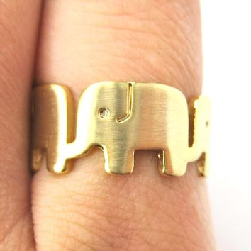 Simple Elephant Family Parade Animal Ring in Gold - US Size 6 to 8 Available