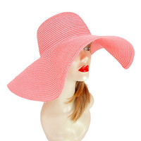 Womens Kentucky Derby Wide Brim Wedding Church Beach Sun Hat - Pink
