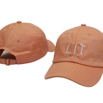 Orange Lit Embroidered Adjustable Cotton Baseball Golf Sports Cap Hat