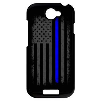 Vertical Thin Blue Line American Flag HTC One S Case