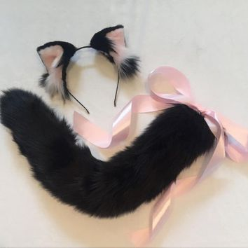 SET: Black Pink Ears and Cat Tail Kitten Play Set