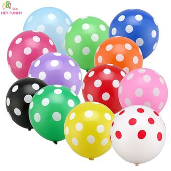 HEY FUNNY 50 pcs/lot 12inch Latex Balloons Polka Dot Colored Balloons For Wedding Birthday Party Decor Globos Air Balls