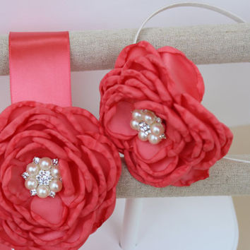 coral headband coral dress sash coral flower girls headbands coral girls dress sash flower girl sash wedding sash coral wedding headband