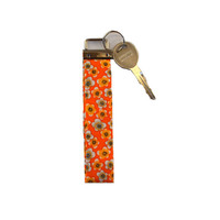 Orange Floral Key Fob, Key Wristlet, Key Chain, Orange Key Holder, Gift for Women, Spring Flowers, Key Ring, Floral Wristlet