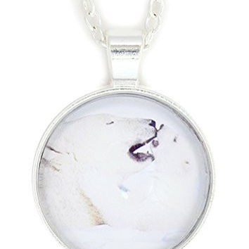 Polar Bear and Cub Necklace Silver Tone NW19 Nature Photo Print Pendant Fashion Jewelry