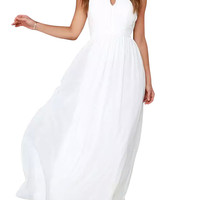 Plain Keyhole Halter Backless Maxi Chiffon Dress