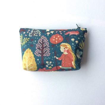 Teal cotton zipper pouch, Cosmetic Bag, Pencil Pouch, Zipper Pouch, Fabric Pouch, Gadget bag. Birch Acorn Trail organic cotton.