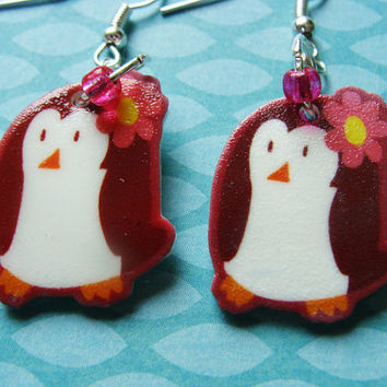 Cute Flower Penguin - Hook Earrings