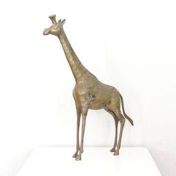 Vintage Brass Giraffe Large - Large Mid Century Tall Brass Giraffe Sculpture with Verdigris Patina - Tall Giraffe - Hollywood Regency Decor