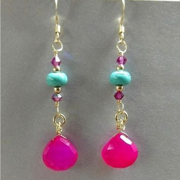 14K Gold Filled Bright Pink Chalcedony Turquoise Gemstone Earrings