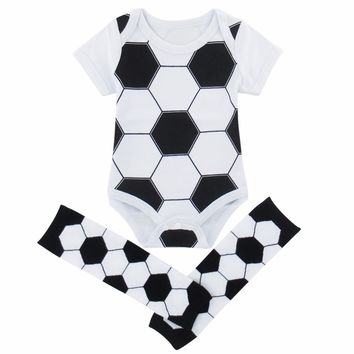 Newborn Baby Boy Girl Football Bodysuit Costume with Warm Leg boots Socks Set Infant Baseball Cosplay Short Sleeve Clothes