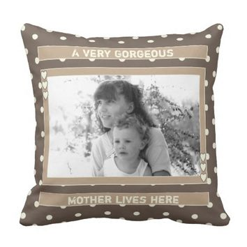 Mother's Day Photo cushion pillow brown polka dots