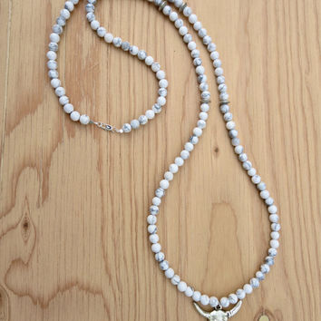 The Dakota Necklace-  White Howlite Gemstones with Silver Bison Skull Pendant