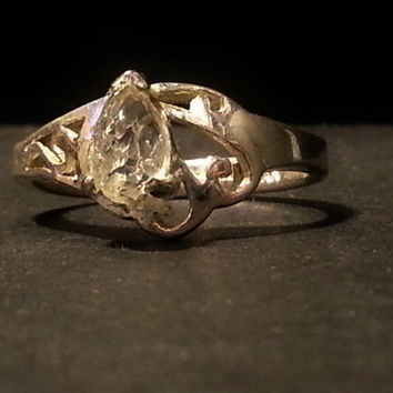 Volcanic/ Raw/ Rough/ Uncut California Diamond/ With Natural Tear Drop Shape/ In Sterling Silver Ring