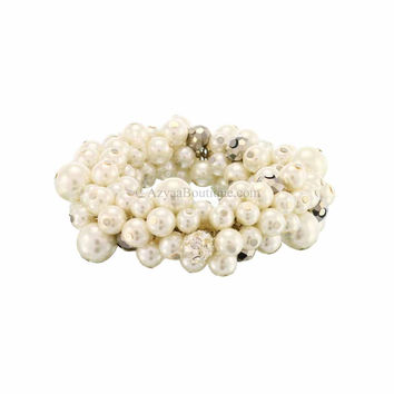 Rhodium White Pearl Crystal Chunky Stretch Bracelet
