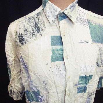 Vintage 80s Crazy Pattern Shapes Cool Indie Artist Shirt XL