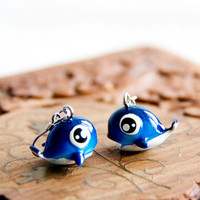 Whale Earrings Deep Blue Cute Whale Dangles Kawaii Ocean Earrings Beach Jewelry - E268