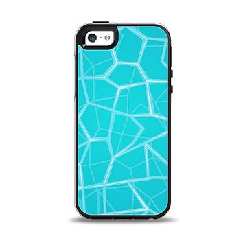 The Blue Translucent Outlined Pentagons Apple iPhone 5-5s Otterbox Symmetry Case Skin Set